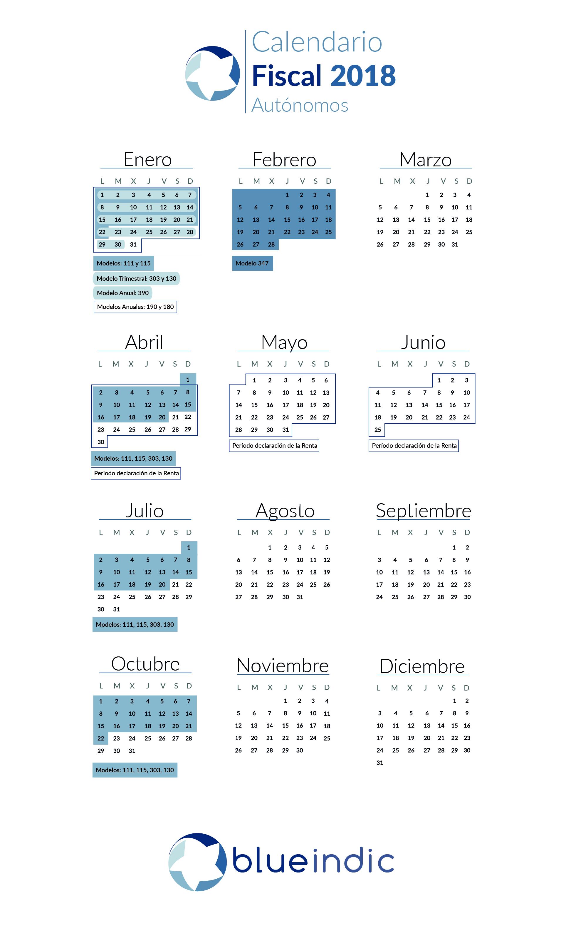Calendario Fiscal para Autónomos en 2018